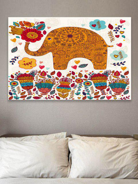 Mandala Elephant Flower Print Wall Art Sticker - multicolor W20 INCH * L27.5 INCH