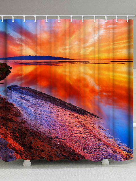 Sunset Waterside Print Waterproof Shower Curtain - multicolor W59 INCH * L71 INCH