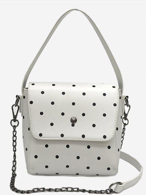Chic Polka Dot Chain Crossbody Bag - WHITE