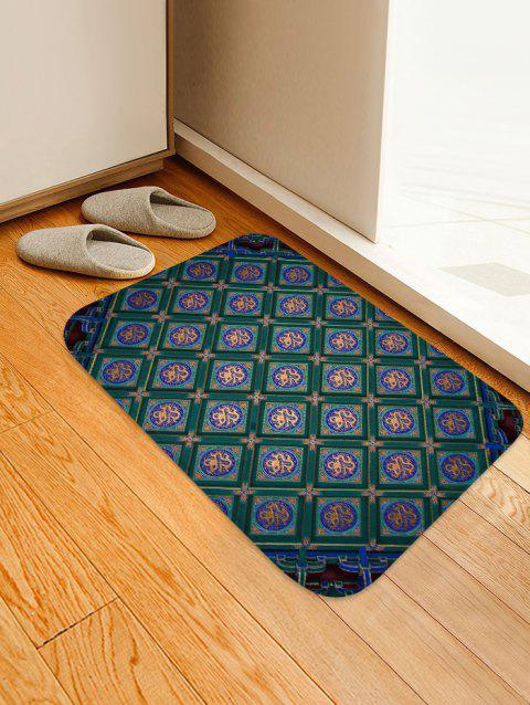 Vintage Geometric Pattern Anti Skid Floor Rug - DEEP GREEN W16 INCH * L24 INCH