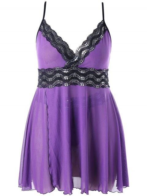 Plus Size Sparkly Side Split Babydoll Set - PURPLE 2X