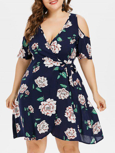 41% OFF] 2019 Plus Size Plunging Neckline Wrap Dress In DEEP BLUE ...