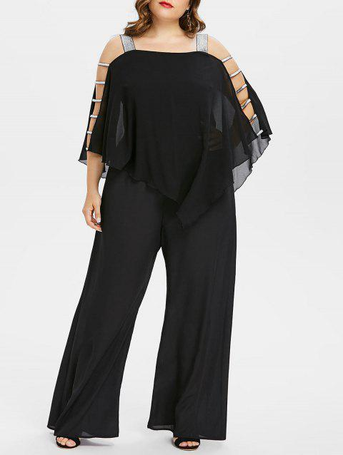 Plus Size Ladder Cut Out Capelet Jumpsuit - BLACK 1X