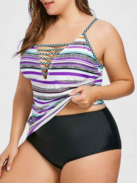 bc4204930c 65% OFF] 2019 Plus Size Stripe Cutout Tankini Swimsuit In PURPLE ...