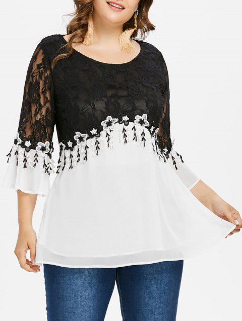 Plus Size Two Tones Panel Chiffon Blouse - BLACK L