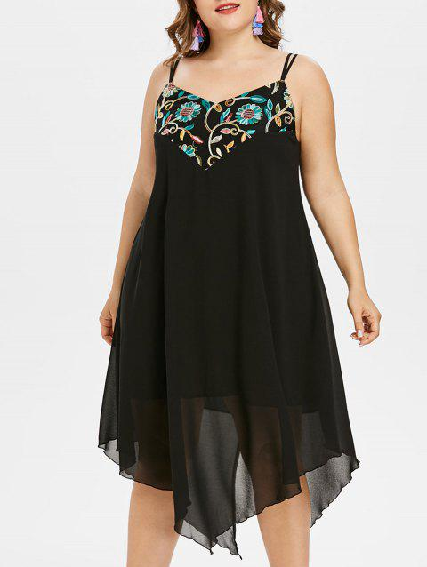 Plus Size Embroidery Handkerchief Dress - BLACK 1X