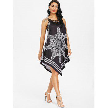 Lace Panel Tribal Print Flowy Dress - BLACK 2XL