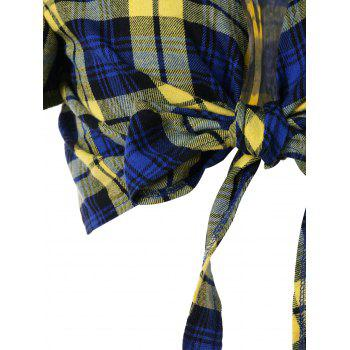Tartan Bowknot Belly Top - COLORMIX L