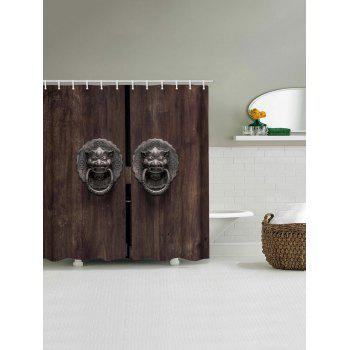 Wooden Door with Lion Knocker Print Waterproof Shower Curtain - multicolor W71 INCH * L71 INCH
