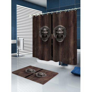 Wooden Door with Lion Knocker Print Waterproof Shower Curtain - multicolor W59 INCH * L71 INCH