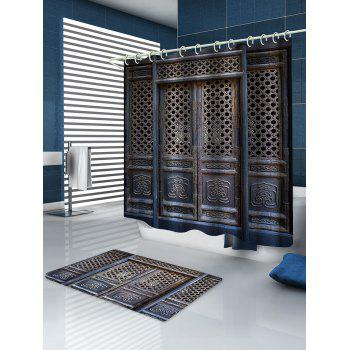 Retro Wooden House Print Waterproof Shower Curtain - multicolor W59 INCH * L71 INCH
