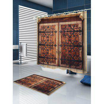 Retro Wooden Double Door Print Waterproof Shower Curtain - multicolor W59 INCH * L71 INCH