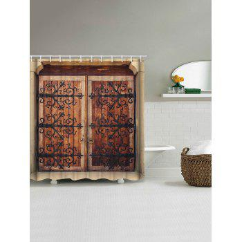 Retro Wooden Double Door Print Waterproof Shower Curtain - multicolor W71 INCH * L79 INCH
