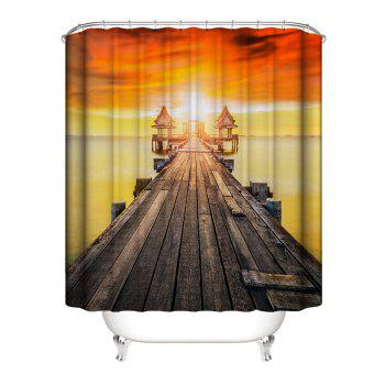 Sunset Bridge Print Waterproof Shower Curtain - multicolor W59 INCH * L71 INCH