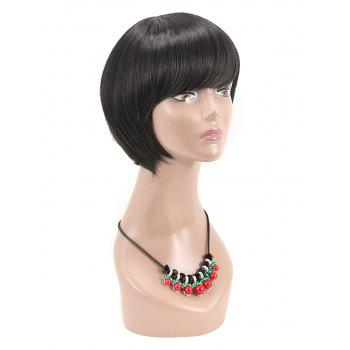 Oblique Bang Short Capless Straight Synthetic Wig - BLACK
