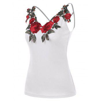 Floral Applique Strappy Cami Top - WHITE 2XL
