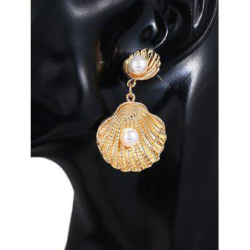 Shell Shaped Faux Pearl Decoration Dangle Earrings - GOLD