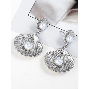 Shell Shaped Faux Pearl Decoration Dangle Earrings - SILVER