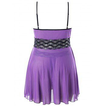 Plus Size Sparkly Side Split Babydoll Set - PURPLE 4X