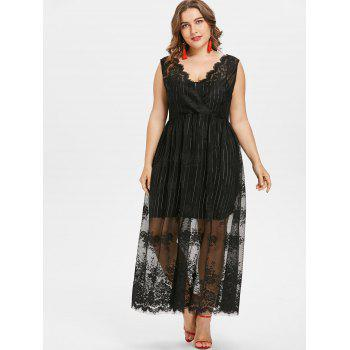 Plus Size Sleeveless Lace Overlay Dress - BLACK 1X