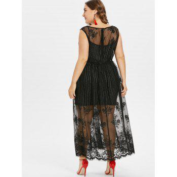 Plus Size Sleeveless Lace Overlay Dress - BLACK 2X