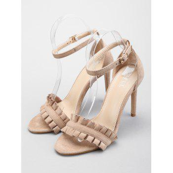 Ruffles High Heel Party Ankle Strap Sandals - APRICOT 36