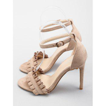Ruffles High Heel Party Ankle Strap Sandals - APRICOT 38