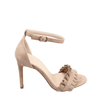 Ruffles High Heel Party Ankle Strap Sandals - APRICOT 39