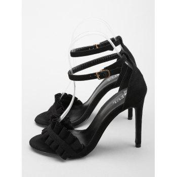 Ruffles High Heel Party Ankle Strap Sandals - BLACK 38