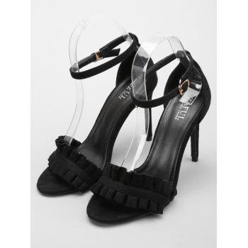 Ruffles High Heel Party Ankle Strap Sandals - BLACK 39