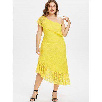 Plus Size Flounced One Shoulder Lace Dress - SUN YELLOW 2X