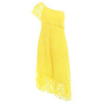 Plus Size Flounced One Shoulder Lace Dress - SUN YELLOW 4X