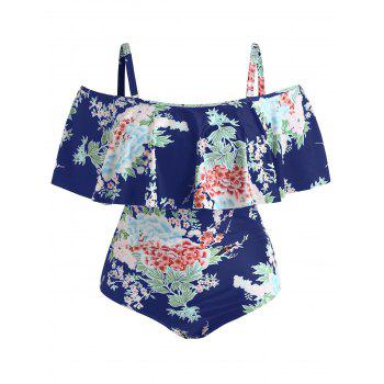 Plus Size Floral Flounce Swimsuit - CADETBLUE L