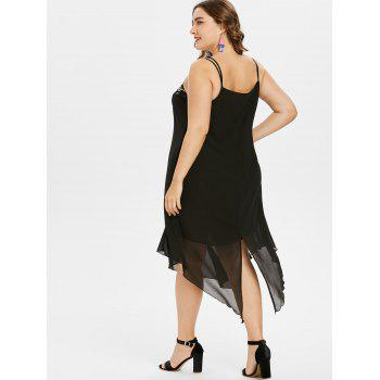 Plus Size Embroidery Handkerchief Dress - BLACK L