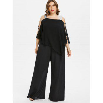 Plus Size Ladder Cut Out Capelet Jumpsuit - BLACK L
