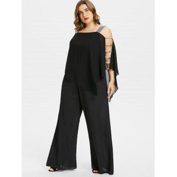 Plus Size Ladder Cut Out Capelet Jumpsuit - BLACK 2X