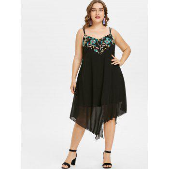 Plus Size Embroidery Handkerchief Dress - BLACK 5X