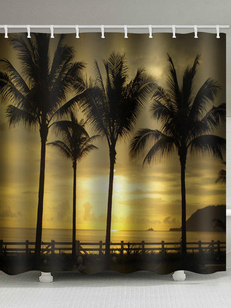 Sunset Seside Coconut Palms Scenery Printed Waterproof Bath Curtain - SUN YELLOW W59 INCH * L71 INCH