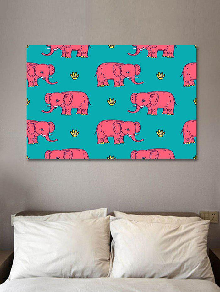 Cartoon Elephant Print Wall Art Sticker - multicolor W20 INCH * L27.5 INCH