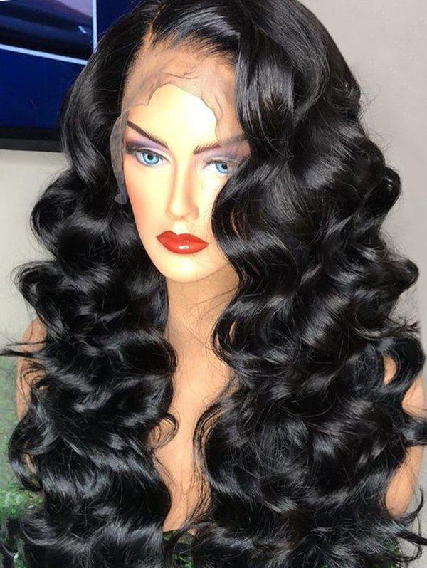 Long Side Parting Loose Wave Synthetic Lace Front Wig - BLACK