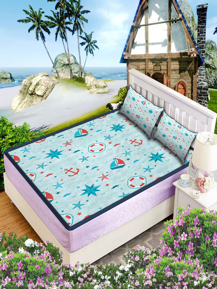 Nautical Anchor Print Cool Mattress Pad Pillowcase Set - multicolor W79 INCH * L71 INCH