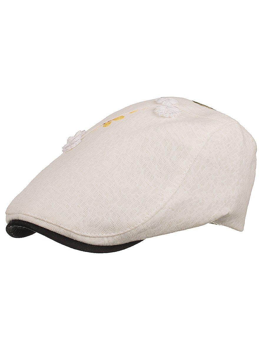 Flower Embroidery Breathable Jeff Hat - WHITE