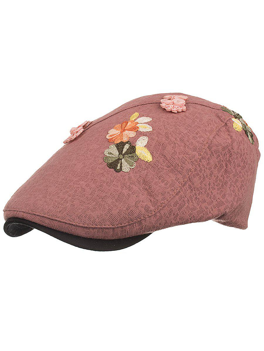 Flower Embroidery Breathable Jeff Hat - LIPSTICK PINK