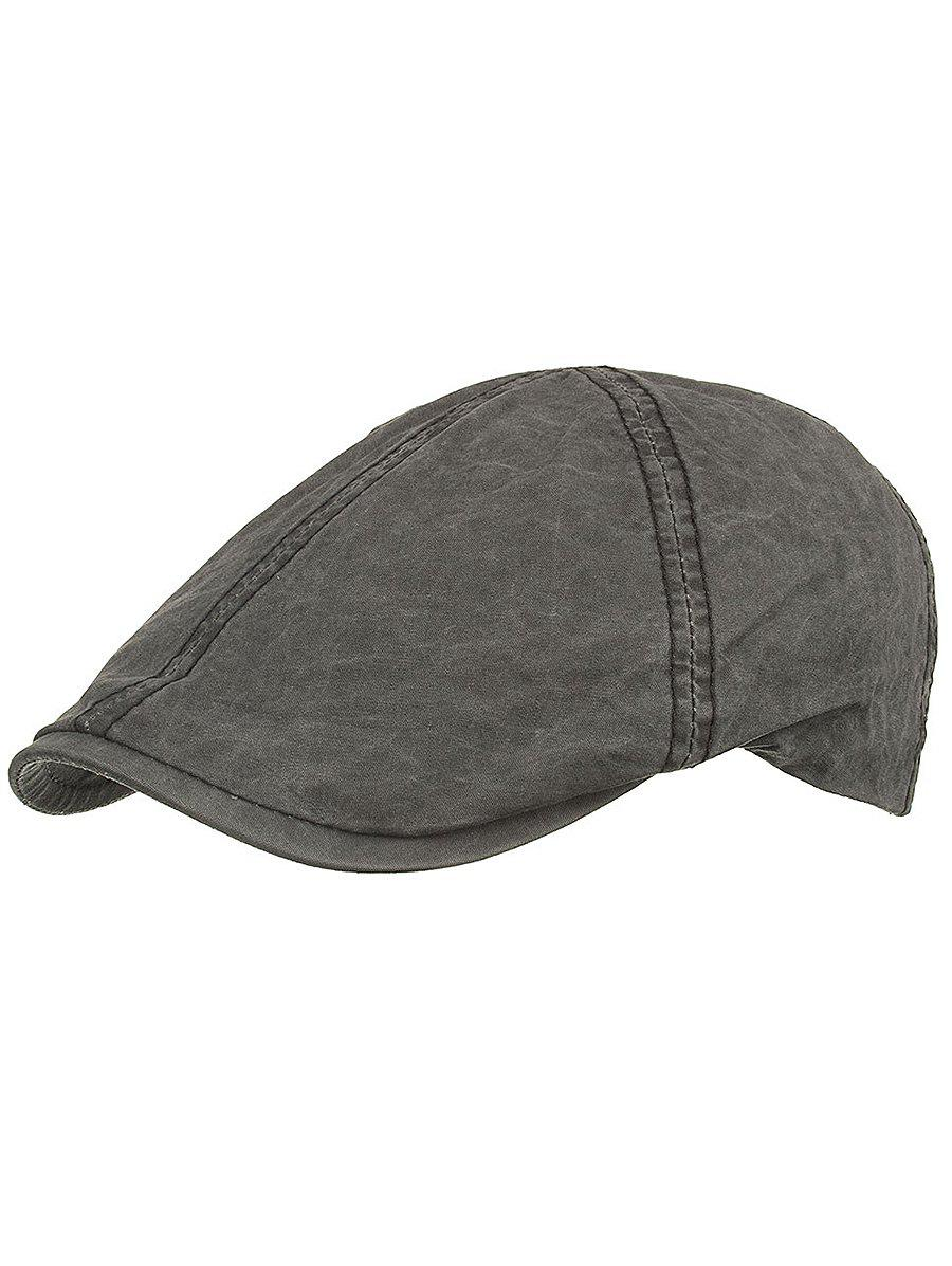 Line Embroidery Washed Dyed Jeff Hat - BLACK
