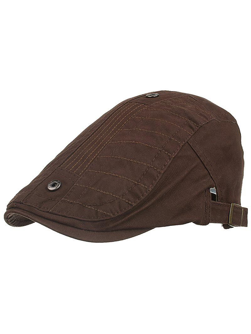 Outdoor Button Decorative Sunscreen Hat - COFFEE