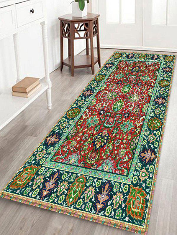 Colorful Flowers Print Water Absorption Floor Rug - FROG GREEN W16 INCH * L47 INCH