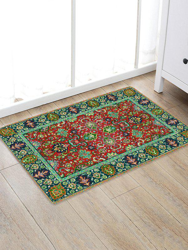 Colorful Flowers Print Water Absorption Floor Rug - FROG GREEN W20 INCH * L31.5 INCH