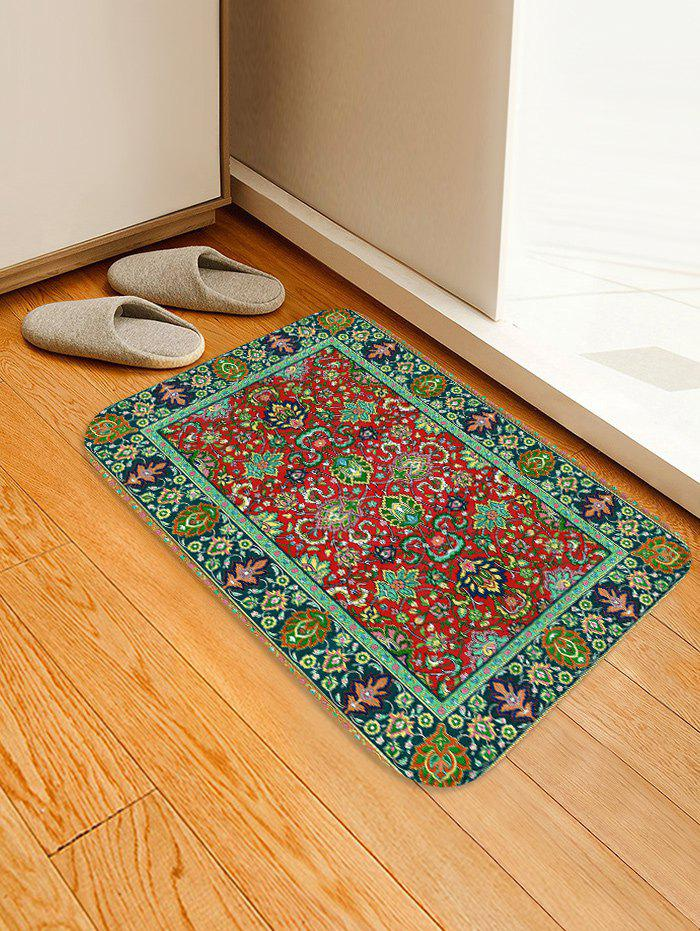 Colorful Flowers Print Water Absorption Floor Rug - FROG GREEN W16 INCH * L24 INCH