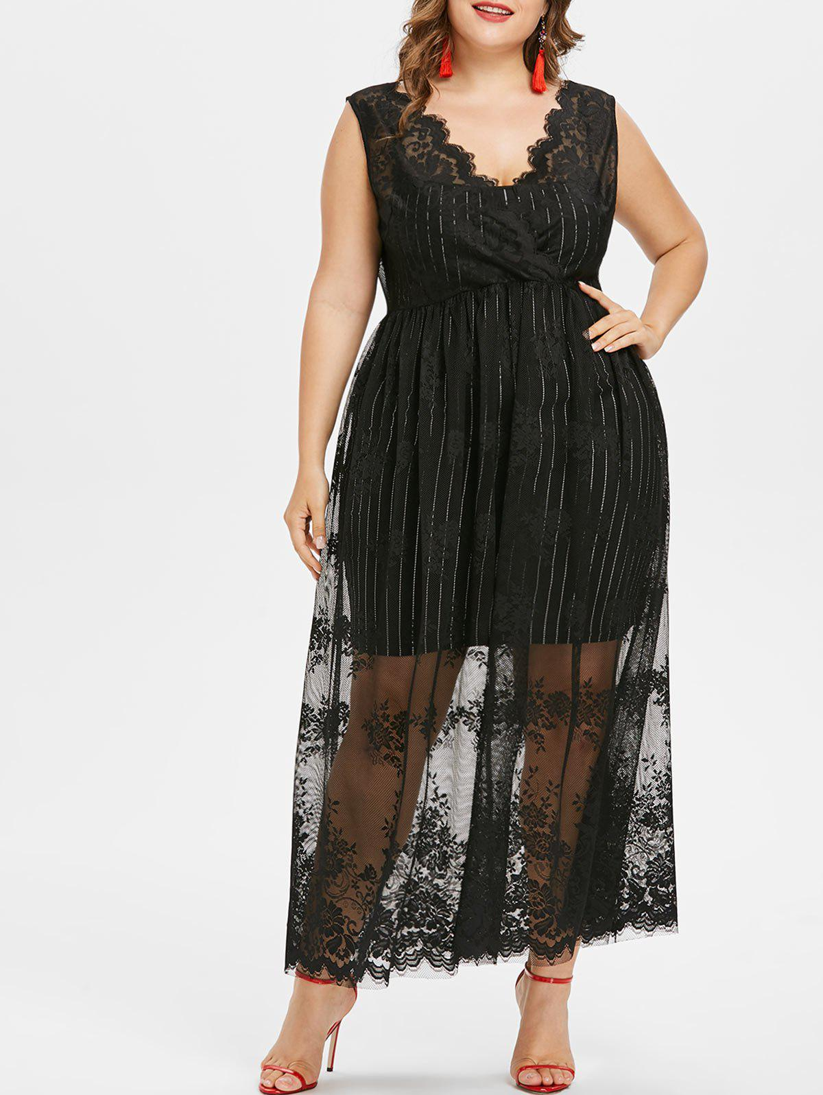 Plus Size Sleeveless Lace Overlay Dress sleeveless plus size buttoned overlay shirt dress