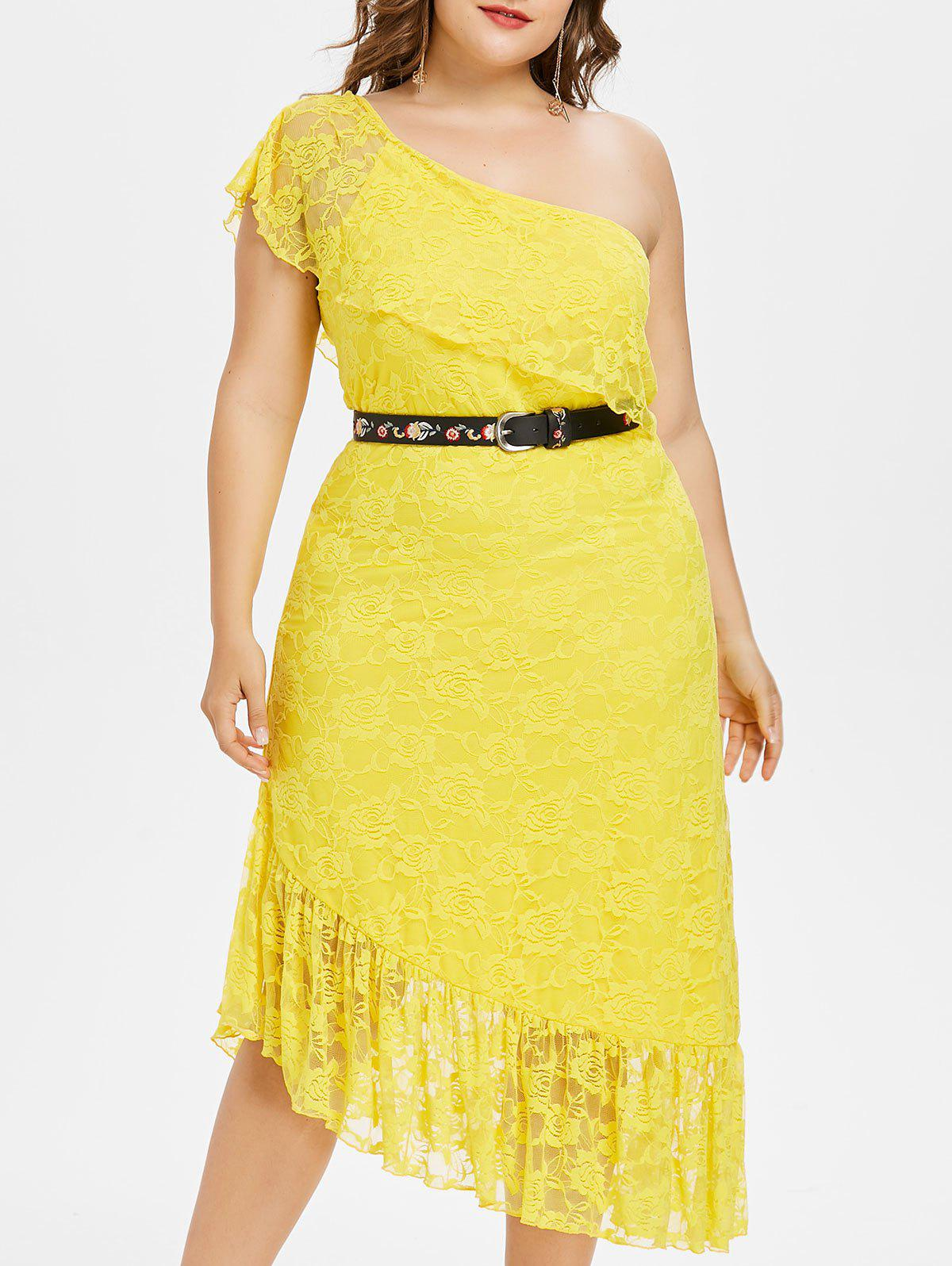 Plus Size Flounced One Shoulder Lace Dress - SUN YELLOW 5X